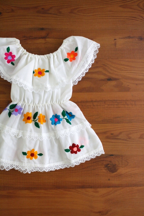 Vintage Toddler Dress Mexican Peasant Dress Embroidered