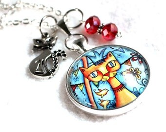 Cat Pendant, Cat Art Charm Necklace, Silver Chain or Black Cord, Silver Chain or Black Cord, Mexican Style Original Art Print, Blue