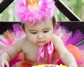 Girl Birthday Hat - Pink chevron with orange and yellow accents - Free personalization