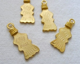 4 Tribal Mountain Charms, Gold Plated