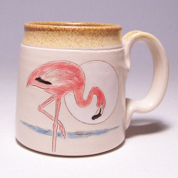 Pink Flamingo Pottery Coffee Mug on white stoneware Limited series 11  (microwave safe)12oz