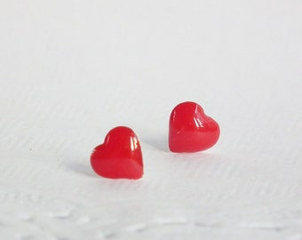 Valentines Day Little Red Heart Earring 925 Sterling Silver post, Cartilage earrings Charm Kids Jewelry Bridesmaid Gift under 10