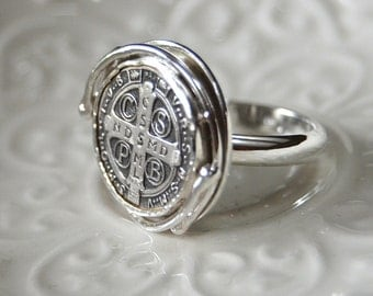 Women's St. Benedict Medal Cross Ring Sterling