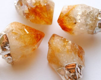 SALE - Raw Citrine Crystal Necklace - Medium - Silver Plated - FREE US Shipping