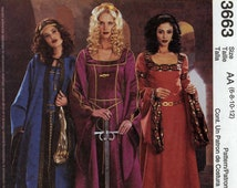 Medieval costume pattern or Medieval wedding dress sewing pattern MCCalls 3663 Sz 6 to 12 Uncut