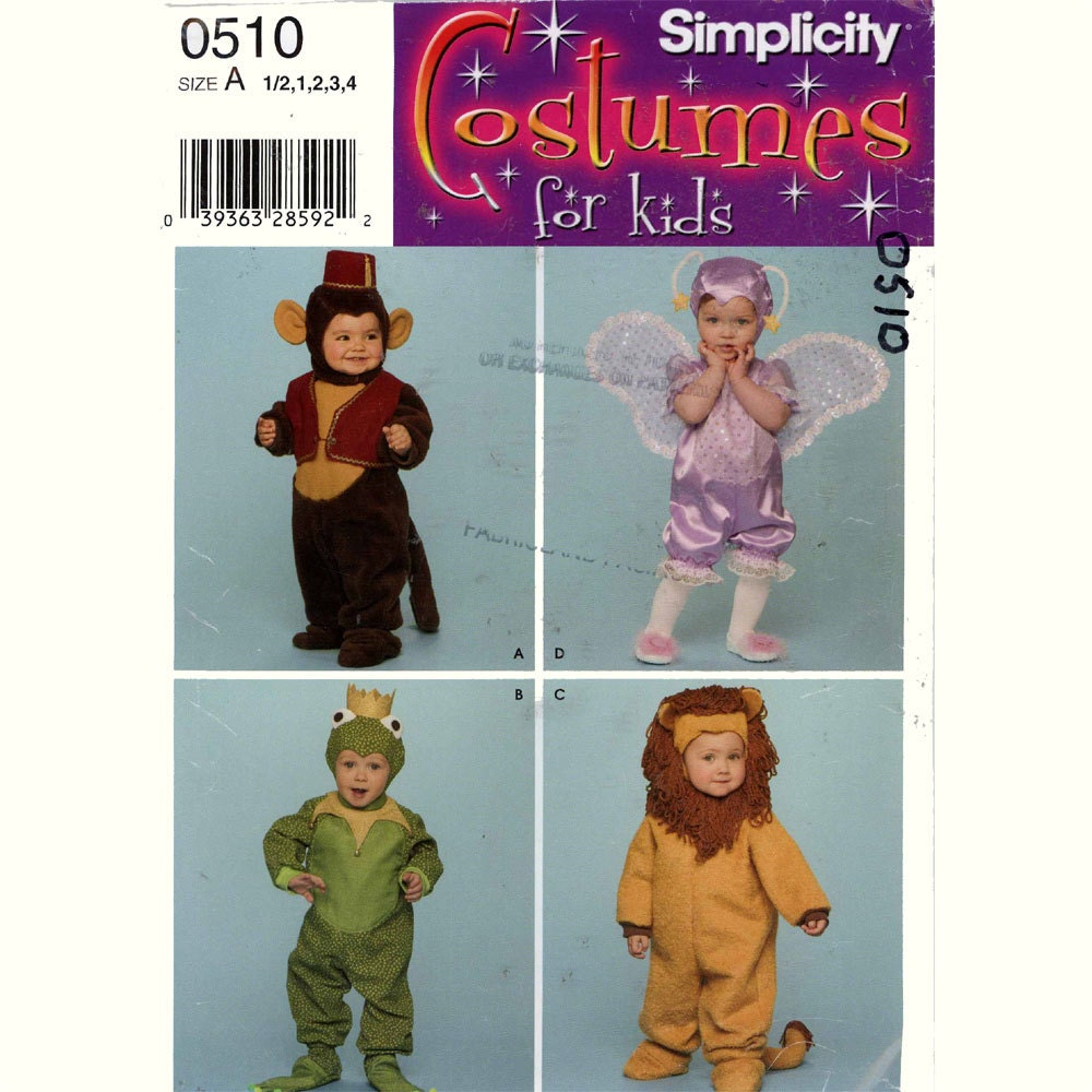 Toddler Halloween costume sewing pattern Simplicity 0510