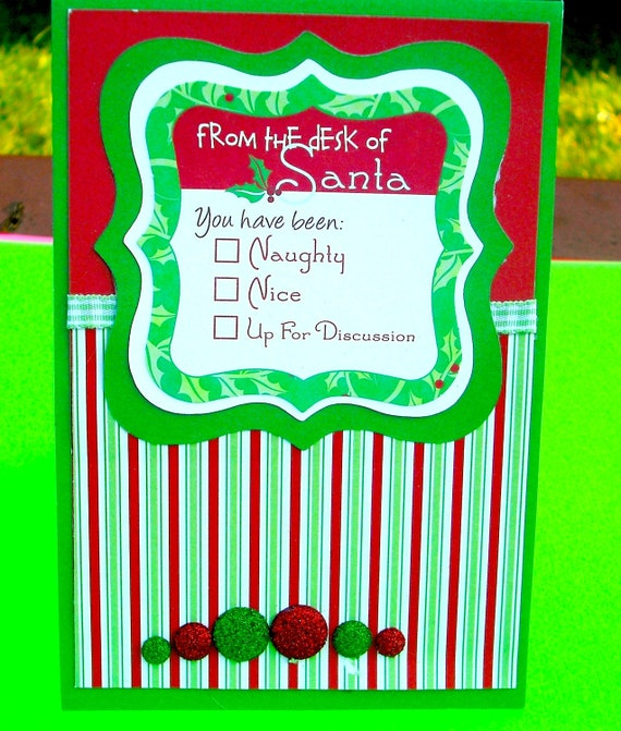 Christmas Card, Red and Green Stripes , From the Desk of Santa, OOAK