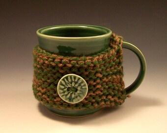 Mug Cozy/ Pottery Mug Cozy  with Clay Buttons