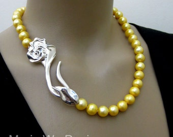 """50%OFF-12mm Genuine Golden Fresh Water Pearl-3"""" Sterling Silver Rose Clasp-Hand Knotted Necklace"""