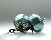 Denim Blue Earrings, Dangle Earrings, Bohemian Earrings, Everyday Earrings, Light Sapphire Blue, Brass Earrings, Glass Jewelry - Blue Jeans
