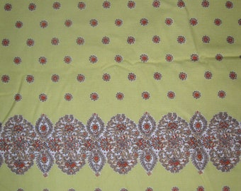 Vintage border print corduroy, India design in flowers and leaves, in yellow, orange, light brown, and white, 1970's, 3 yds available