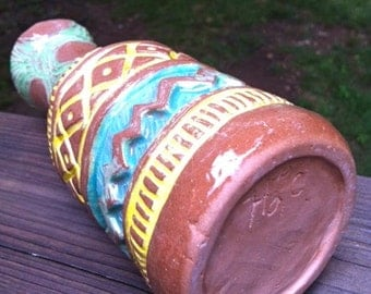 Pottery Bottle - Hand Built - Hand Carved - Hand Painted