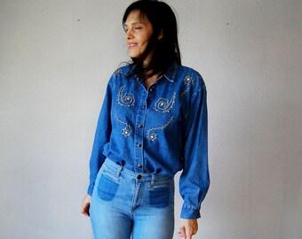 vintage 1980s studded DENIM button up blouse