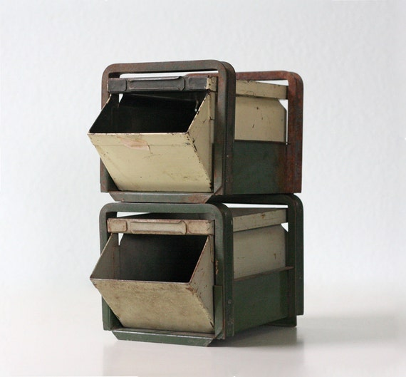 Industrial Stacking Containers : Industrial stack bins set of green stackable bin drawers