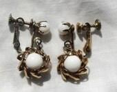 SALE Milk Resin Stone Sun Burst Earrings circa 1960