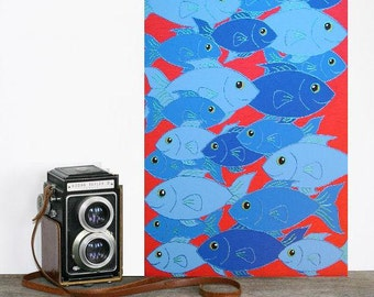 "The Blue Swarm... original painting, 19.7x27.6"", 50x70 cm, acrylic, canvas, fishes, sea, ocean, animal, fantasy"