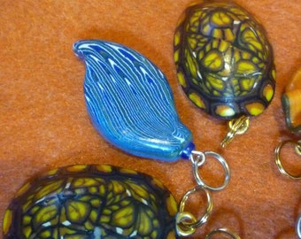 Blue Purple Peacock Feather inspired polymer clay pendant Stocking Stuffer Christmas Gift