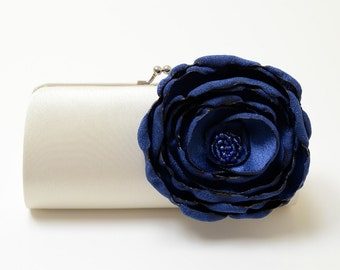 Ivory Clutch - Bridal Clutch - Bridesmaid Clutch -  Bouquet Clutch - Navy Blue Flower Bloom