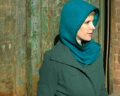 Hooded Cowl in Electric Turquoise Wool and Mohair : Womens Winter Hats, Gift for Her, Winter Style, Hoodie, Cowl, Cozy Hat, Ready to Ship