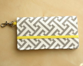 iPhone Cell Phone Wallet - Gray and Yellow Graphic Print - Custom Cell Phone Case - Smart Phone Wallet