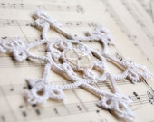 Sale - Tatted Ornament Snowflake Christmas Decoration White Frosty with Antique Button