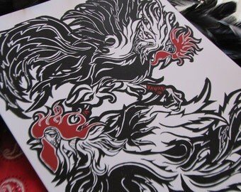 LOS GALLOS // 8x10 Rooster Fight Fine Art Print