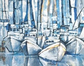 Original Painting - Morning at the Marina 30x40 RESERVED