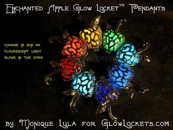 Enchanted Apple Caged Glow Locket  Pendant Silver