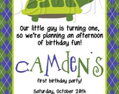 Custom Printable Preppy Turtle Birthday Party Invitation