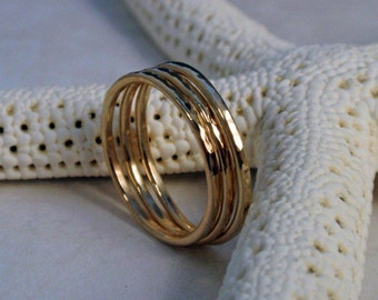 Gold Stacking Ring Set Stunning 14K Gold Hammered Rings
