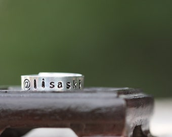 Instagram or Twitter name hand stamped ring in aluminum
