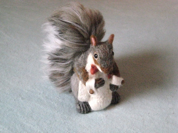 Custom made Wedding Cake Topper / Gray Squirrel Needle Felted