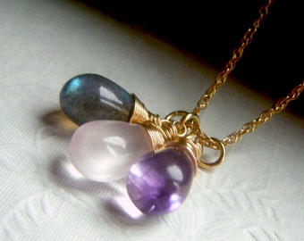 Gemstone Trio Necklace Goldfilled, Wirewrapped Pendant Briolette, Labradorite Moss Amethyst Rose Quartz, Three Gemstone Necklace Goldfill