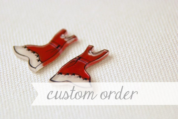 Custom Order for Sandy - Dresses earrings, clothing jewelry, red dress