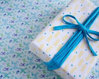 Gift wrap - 3 sheets - Duplex printing : Fishes and Arrows