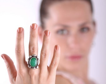 Green Agate Ring, Natural Stone Ring, Oval Stone Ring, Green Gemstone Ring, Ring Silver Stone, Silver Agate Jewelry, Ring Silver
