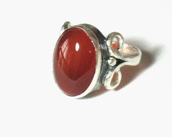 Agate Ring, Silver Agate Ring, Vintage Style Ring, Statement Stone Ring, Gemstone Ring, Red Agate, Sterling Silver Ring,Silver Agate Jewelry