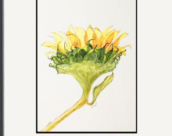 Sun-kissed Sunflower - Original Artwork - Watercolor & Acrylic Painting - Nature Flower Art