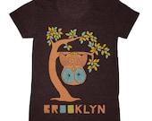 SALE Brooklyn Tree - Womens Girls Scoop Neck T-shirt Tee Shirt Cute Retro New York Owl Woodland Branches Leaves Forest Bird Tri Black Tshirt