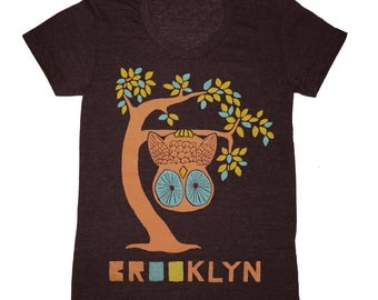 SALE Brooklyn Tree - Womens Girls Scoop Neck T-shirt Tee Shirt Cute Retro New York Owl Woodland Branches Leaves Forest Bird Tri Black Tshirt