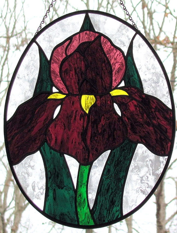 Stained Glass Purple Iris Suncatcher Oval Panel