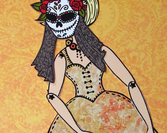 Original Fully Assembled Articutlated Blondie and her dia-de-los-muertos mask Paper Doll set