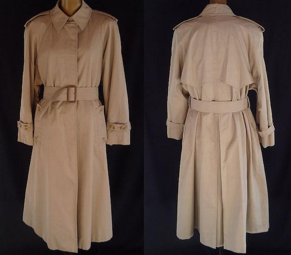 Vintage 90s Aquascutum Aqua 5 Trench Coat Raincoat - Khaki Taupe Gabardine - Size XL to XXL - on SALE