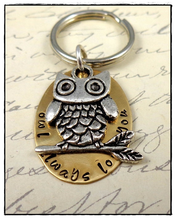 Personalized Keyring - Owl Always Love You -Men Grandpa Dad - Keychain - Hand Stamped Brass