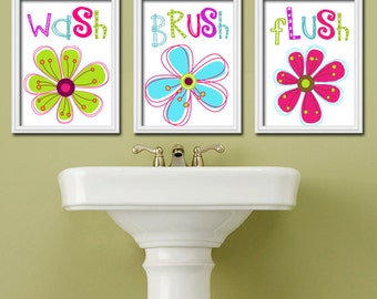 Girl Bathroom Wall Art, CANVAS or Prints Flower Custom Colorful Floral Set of 3 Wash Brush Floss Child Bath Pictures,