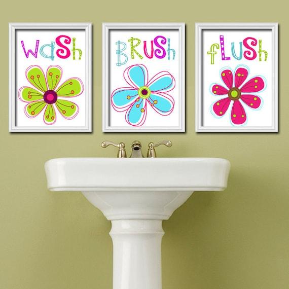 Girl Bathroom Wall Art CANVAS Or Prints Flower Custom