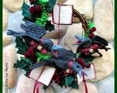 PDF Pattern, Primitive Crows, Wreath, Christmas Carols