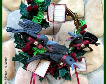 PDF Pattern, Primitive Crows, Wreath, Christmas Carols