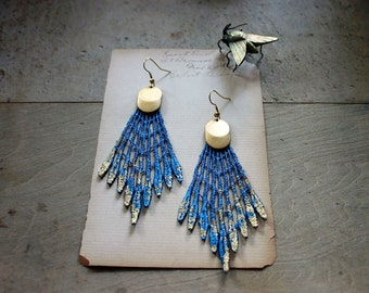 lace earrings // GALATEA // cobalt metallic // tribal // spike modern blue // statement earrings