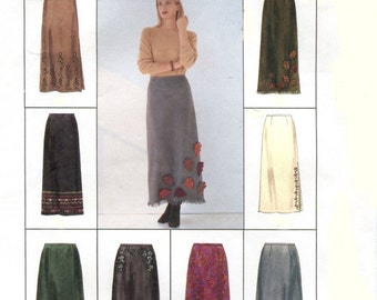 Misses A Line Skirt Sewing Pattern - McCalls 2869 - Two Lengths - Express Yourself Trim Variations - Size 8-10-12 Uncut